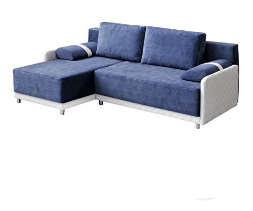 mb-moebel Ecksofa Sofa Eckcouch Couch mit Schlaffunktion und Bettkasten Ottomane L-Form Schlafsofa Bettsofa Polstergarnitur - Indiana (Ecksofa Links, Blau)