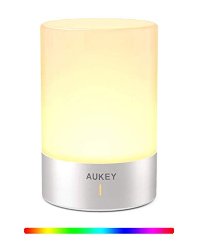 AUKEY Nachttischlampe Wiederaufladbare LED Tischlampe Dimmbar Warmes Licht und RGB-Farbwechselmodus Touchbedienung Lampe für Schlafzimmer