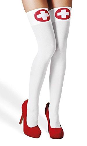 erdbeerclown - Overknees Strümpfe Socken Krankenschwester erste Hilfe Kostüm, Weiß