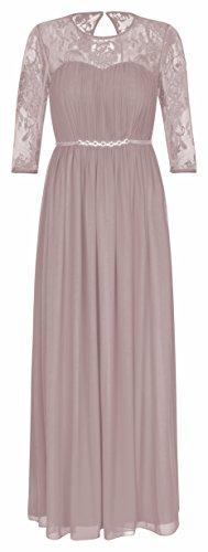 Lautinel Abendkleid Ballkleid Festkleid Hochzeitskleid Langarm Chiffon 995 (34, Cappuccino)