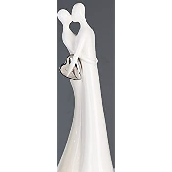 Casablanca Figurskulpturdekofigur The Kiss Keramik Weiß