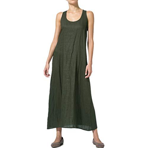 VJGOAL Kleider Damen Sommer Große Größen Einfarbig Freizeit Ärmellos Lose Strand Lang Dresses for Women