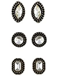 VAMA FASHIONS Black Color With Rhinestone Studded Multi-Design Stud Earrings For Girls And Women (Combo Of 3 Pairs)