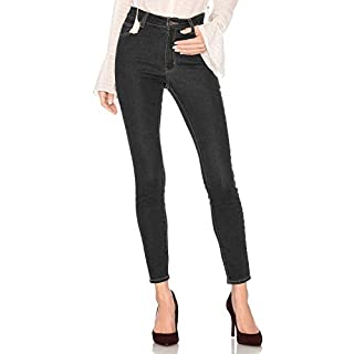 AUSERO High-Waist Ankle Skinny Jeans in Blue Black Twilight, 30