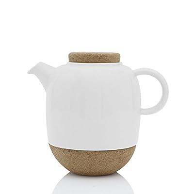 Viva Scandinavia Théière Design (1,2 l) en Porcelaine Blanche, avec Couvercle en liège et Bec Anti-Gouttes
