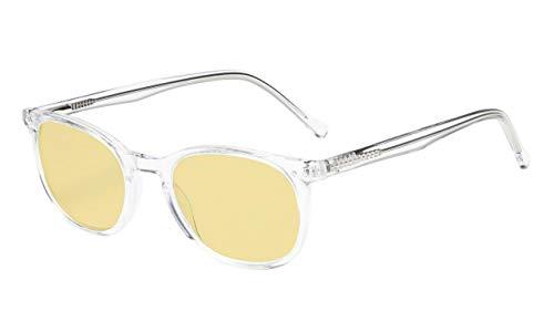 Eyekepper Blau Licht Blockierung Computer Brillen Gelb Getönte Linse Brille(Transparent Acetat Rahmen, 0.00)
