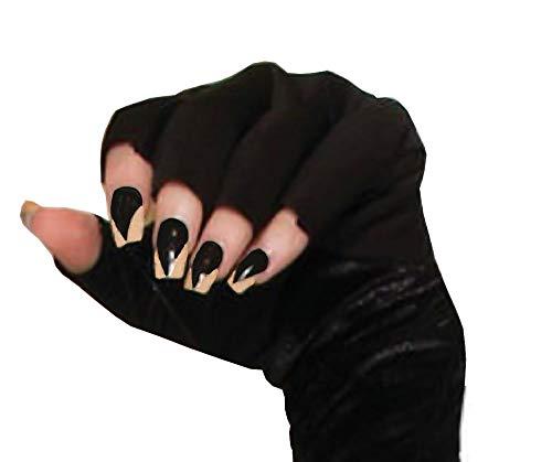 shoperama Künstliche Katzen Krallen Fingernägel Schwarz-Haut selbstklebend Hexe Vampirin Monster Halloween Karneval
