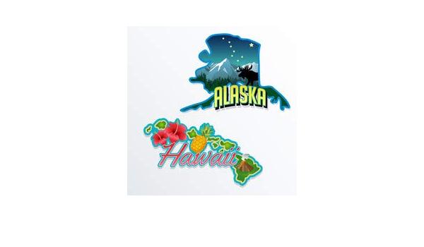 Alaska Hawaii State Facts Illustrations 66592499 Aluminium Dibond 60 X 60 Cm Amazon Co Uk Kitchen Home