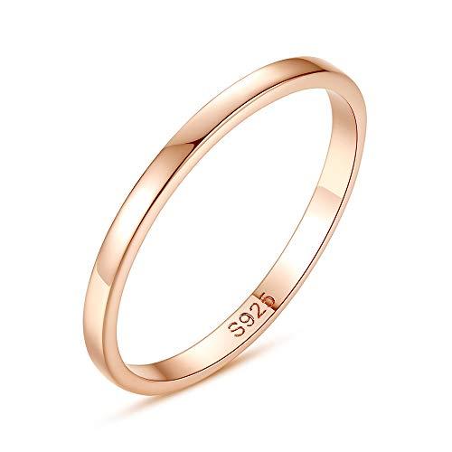 YBZS Runder Damenring, Einfacher Stil, Rotgold, S925 Standard Silber, Alltagstauglich, Arbeit, Geschenke,9 -