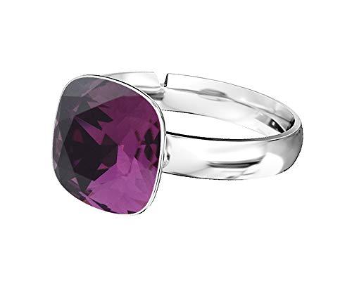 Beforya paris - anello da donna in argento 925 con cristalli swarovski, misura regolabile e argento, colore: ametyst, cod. 7