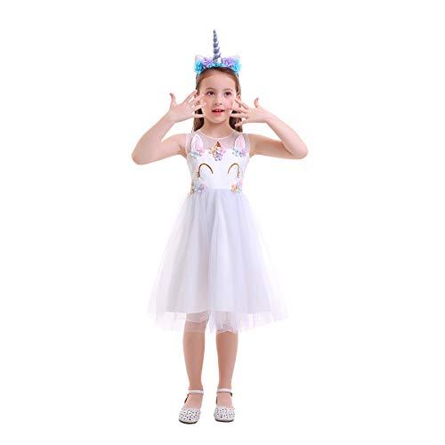 OBEEII Baby Mädchen Einhorn Regenbogen Geburtstag Kleid Halloween Kostüm für Kinder Blumenmädchenkleid Hochzeit Festzug Prinzessin Tutu Ankleiden Karneval Performance Cosplay Helles Lila 9-10 Jahre (Halloween-kostüme Helle Regenbogen)
