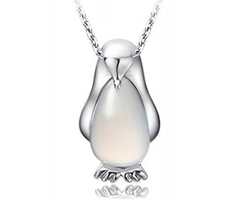 findout dames collier en argent sterling Penguin opale pendentif, pour