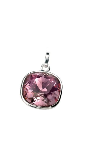 Elements: aufwendig facettierter Swarovski-Elements-Stein in pink und viereckig, Sterling-Silber 925