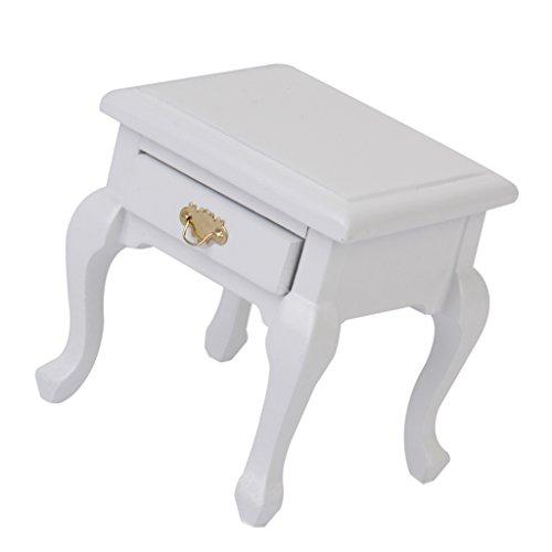 1 Schublade Traditionellen Nachttisch (T TOOYFUL 1/12 Puppenhaus Miniatur Möbel Holz Nachttisch Modell Dekor Weiß)