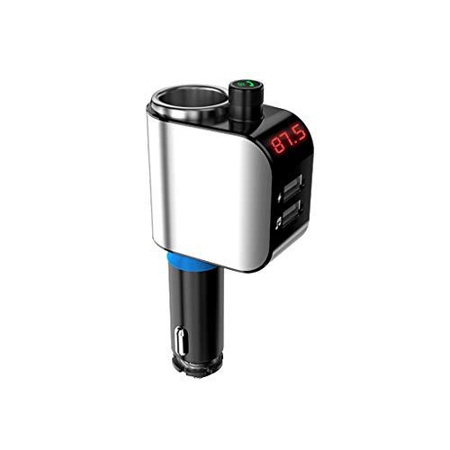 WOB Bluetooth Auto MP3-Player, Auto FM Übermittlerfunktion Mini-MP3-Player Car Styling Wireless FM Transmitter Auto FM Bluetooth-Modulator Freisprecheinrichtung Unterstützung TF USB Musik (Silber) Fm-bluetooth