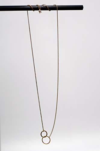 Schöne schicke elegante Hals-Kette Silber vergoldet (925) mit zwei zarten Ringen für Damen zum Sich-eine-Freude-machen und Verschenken