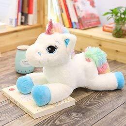 CGDZ 80-40 cm Grande Arcobaleno Unicorno Peluche Kawaii farcito Unicorni Animali Bambola Morbido Cuscino Cuscino Giocattoli per Bambini Ragazze Regalo Bianco 60 cm