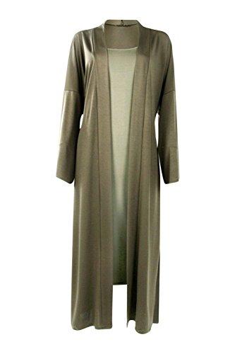 Femmes Kaki Sarah Strappy Midi Dress and Oversized Duster Co-Ord Kaki