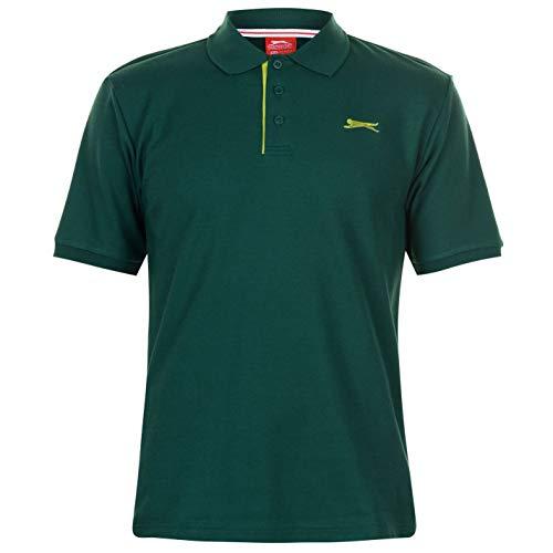 Slazenger Hombre Plain Camiseta Polo Verde Oscuro M
