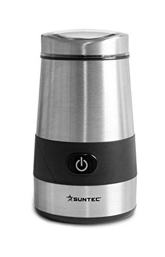 SUNTEC Kaffeemühle KML-8403 design [Handliche Edelstahl-Mühle für Bohnen, Getreide, Gewürze uvm., 2 Edelstahl-Schlagmesser, Deckel mit Sichtfenster, Einhandbedienung, max. 200 Watt]