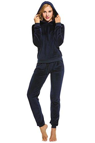 Unibelle Damen Velours Hausanzug Weich Warm Samt Pyjamas Zweiteiler Freizeitanzug mit Taschen Nicki Oberteil+Hose für Winter