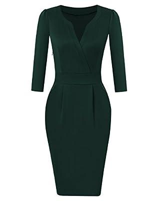 KOJOOIN Women's V-Neck Business Slim Bodycon Workwear Pencil Dress