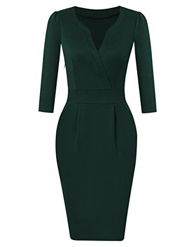KOJOOIN Damen Elegant Etuikleider Knielang Langarm Business Kleider Grün Dunkelgrün M