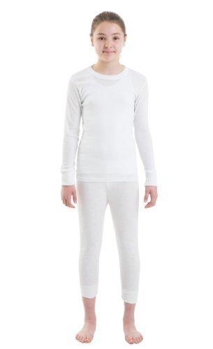 Mädchen Thermo-Unterwäsche - Langarm Weste u. lange Jane (Thermal Leggings) - Weiß/Rosa (Long Lange Thermal Sleeve Unterwäsche)