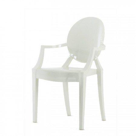 Kartell Louis Ghost - Silla de Comedor y Cocina (policarbonato), Color Blanco Brillante
