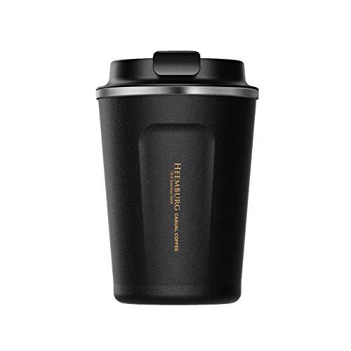Heemburg Kaffeebecher für unterwegs Coffee to go Thermobecher schwarz 380 ml aus Edelstahl mit Doppelwand Isolierung 100% auslaufsicher Thermo für Kaffee oder Tee (Schwarz, 380ml)