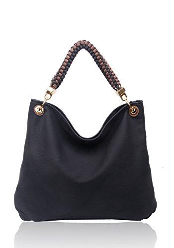 LeahWard schönes Qualität Schultertasche Taschen für Frau Kunstleder Damen Handtaschen Tasche 160422 Schwarz