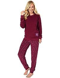 Damen Frottee Pyjama Schlafanzug Langarm mit Bündchen und Eiskristall Motiv 281 201 03 004