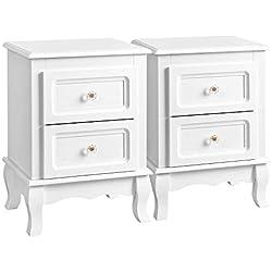 SONGMICS Set de Dos Mesillas de Noche Mueble de Dormitorio con 2 cajones 2 x 38,5 x 30,5 x 52,5 cm Color Blanco RDN012