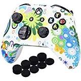 YoRHa D'impression Silicone Housse Silicone Couverture Skin Peau Coques Cas pour Xbox One S / X Manette x 1 (Rond+Blanc) avec Capuchon de Joystick Poignées PRO Thumb Grip x 8