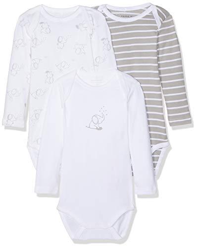 *NAME IT Unisex Baby Strampler NBNBODY 3P LS NOOS, 3er Pack, Mehrfarbig (Alloy), 62*