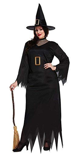 FANCY DRESS ADULT WITCH BLACK LONG PLUS SIZE by ()