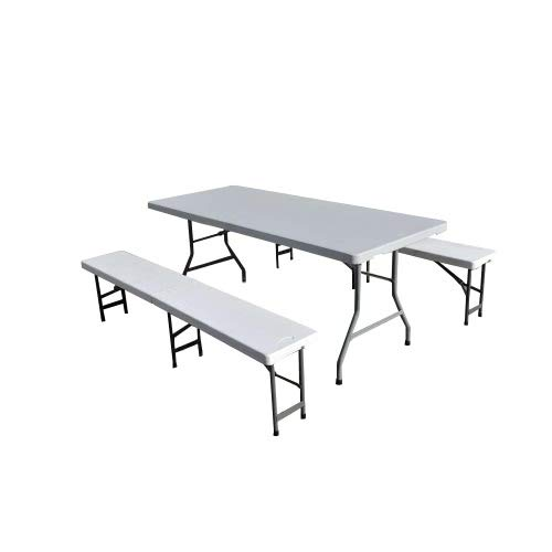 Ensemble de réception Table Plateau uni 180cm et 2 bancs pliants