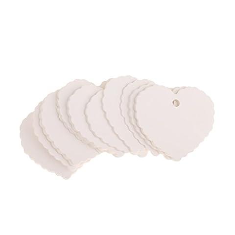 Lot de 100pcs Etiquette Tag Blanc Volante Forme Mixte pour Fête de Mariage Cadeau Noël Carte de Prix Magasin -