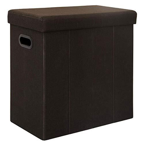 Dunedesign cesto della biancheria sporca bucato 70l portabiancheria pieghevole con coperchio pouf per sedersi rettangolare marrone