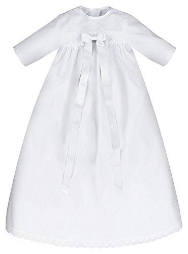 Taufkleid Sascha mit weißer Schleife – Größe 74, festliche Taufbekleidung für Mädchen und Jungen geeignet, aus 100 % Baumwolle gefertigt.