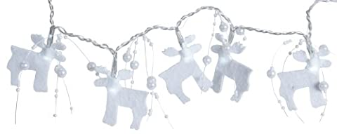 Star 726-28 1.75 m Felt Elk Battery Operated 30 Cool White LED Light Chain with Red Cable