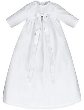 Bateo Design Baby Taufkleid Baumwolle mit Schleife Weiß