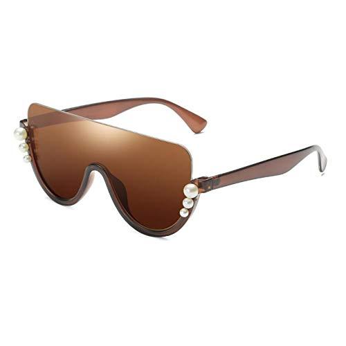HYUHYU Schwarz Schild Perle Sonnenbrille Modemarke Designer Rosa Gespiegelt Halb Randlose Sonnenbrille Für Frauen Flat Top Vintage