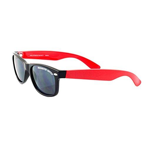 Kinder Wayfarer Sonnenbrille mit Manchester United FC Design (Einheitsgröße) (Schwarz/Rot)