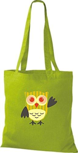 ShirtInStyle Jute Stoffbeutel Bunte Eule niedliche Tragetasche Owl Retro diverse Farbe, lime