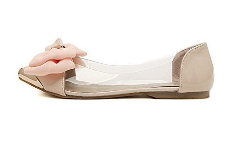 Minetom Damen Mädchen Transparente Folie Schuhe Süßen Stil Spitz Zehe Schuhe Mit Bowknot Rosa