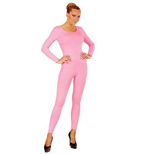 shoperama Damen Bodysuit Langarm Ballett Flamingo 80er Jahre Disco Tänzerin Kostüm-Zubehör Karneval Fasching Overall Catsuit Jumpsuit, Farbe:Rosa, Größe:XL