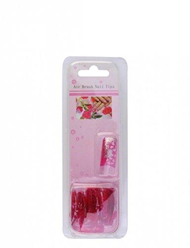 Capsules airbrush design rose avec des fleurs blanches et refléts de paillettes