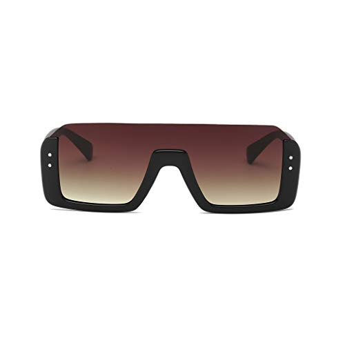 Skang Herren Halbrahmen Sonnenbrille Übergröße Mode Polarisierte Sunglasses Outdoor UV Brille Flieger Pilot Brille Eyewear(Einheitsgröße,Kaffee)