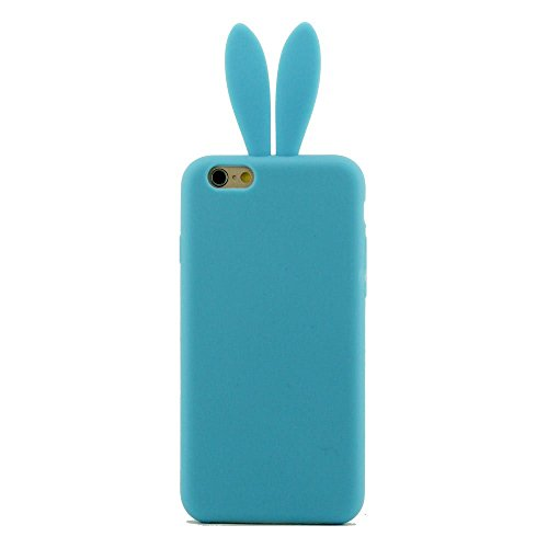 Apple iPhone 6 Case Cover ( Rose ), Coque Housse de Protection pour iPhone 6S 4.7 Pouce, Prime Silicone Gel Matériel Ultra Souple Doux style de Slim Coloré Oreille du Lapin Série Bleu